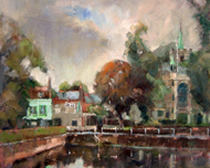 John Killens - Carshalton Ponds - Oil - 10x12 - £425 framed - £325 unframed