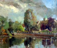 John Killens - Carshalton Ponds Afternoon - Oil - SOLD