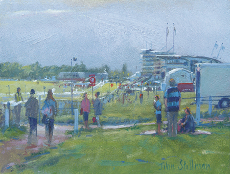 Evening Meeting, Epsom Downs 6x8 - £550