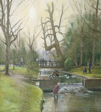 Fishing for Tiddlers, Grove Park 32x30 - SOLD