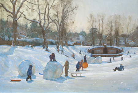 Snow Day, Carshalton Park 20x30 - £1450